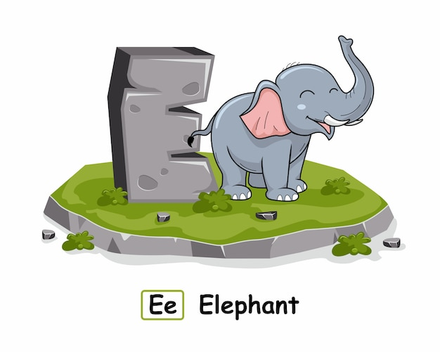 E para animais elefantes alphabet rock stone