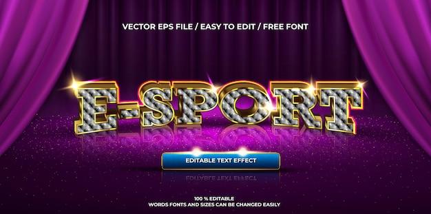 E-sport com efeito de texto editável de luxo com maquete de logotipo