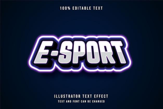 E-sport, efeito de texto editável em 3d, gradação azul e efeito roxo neon estilo