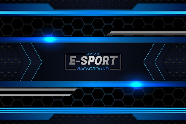 E sports background escuro e estilo azul