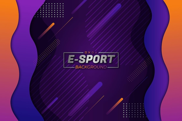 E-sports background roxo laranja fluido estilo