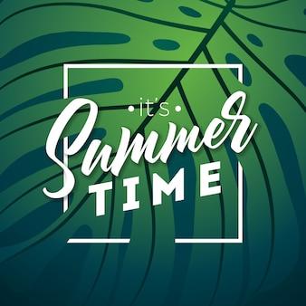 É, tempo verão, ilustração, com, exoticas, phylodendron, folhas