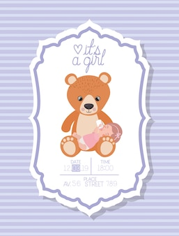 É um cartão de bebê menina com ursinho de pelúcia