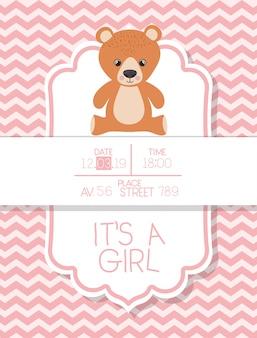 É um cartão de chá de bebê menino com ursinho de pelúcia