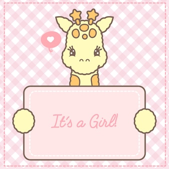 É um cartão de girafa bebê menina para chá de bebê