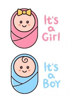 É um cartão de menina, menino. saudação de chuveiro de bebê