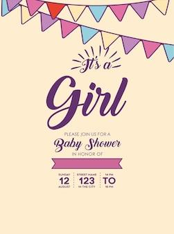É um convite de chá de bebê menina