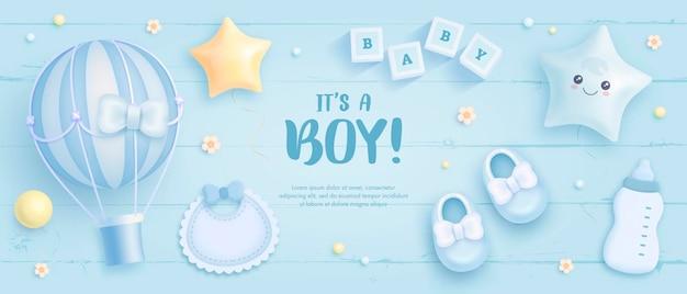 É um convite para chá de bebê de menino