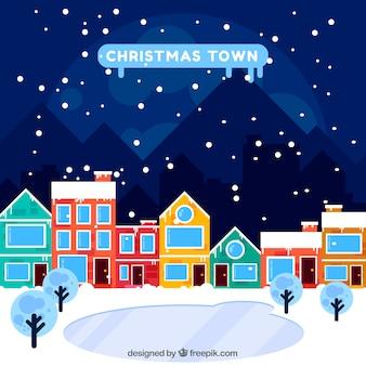 É um dia de natal nevado na cidade