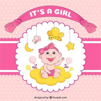 É um fundo de chá de bebê da menina