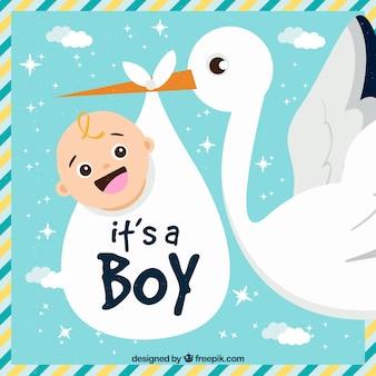 É um fundo de menino com cegonha carregando bebê