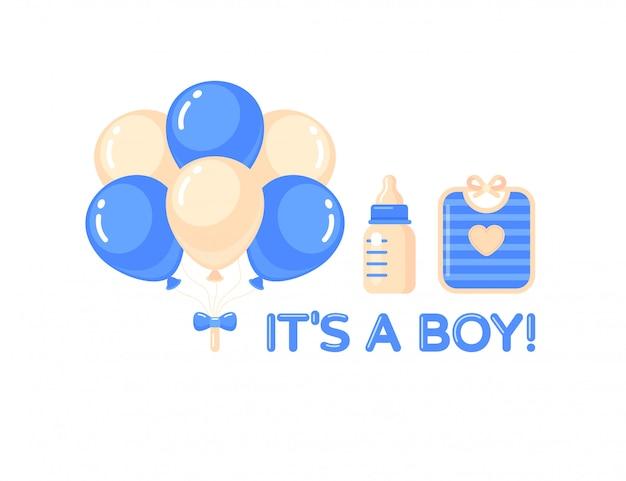 É um menino com balões, mamadeira e babador azul. elemento de design do chuveiro de bebê.