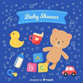 É um modelo de chuveiro de bebê menino