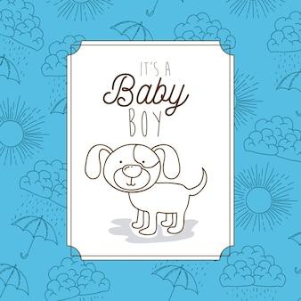 É um quadro de bebê menino com cachorro