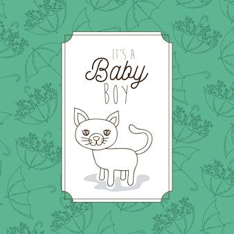 É um quadro de bebê menino com gato