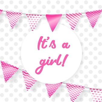 É uma garota. cartão para chá de bebê com guirlanda rosa
