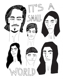 É uma ilustração desenhada mão pequena do mundo