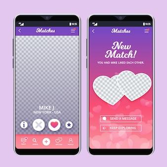 É uma interface de aplicativo de namoro de correspondência