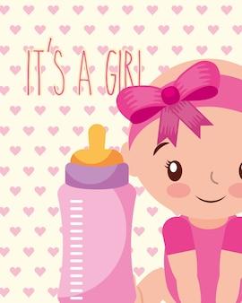 É uma menina bebê e ilustração em vetor cartão garrafa de alimentação