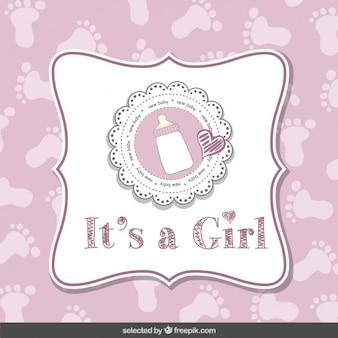 É uma menina, cartão do chuveiro de bebê