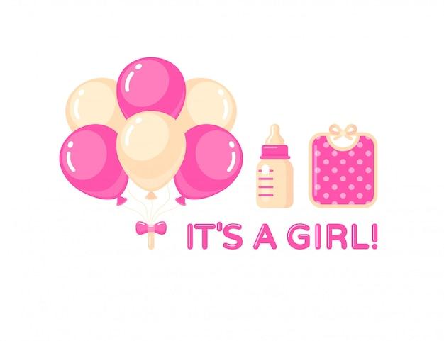 É uma menina com balões, garrafa de leite e babador rosa. elemento de design do chuveiro de bebê.