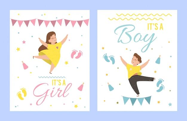 É uma menina e seus cartões de um chá de fraldas do menino.