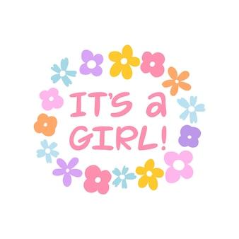 É uma menina! escrita à mão lettering cartão.