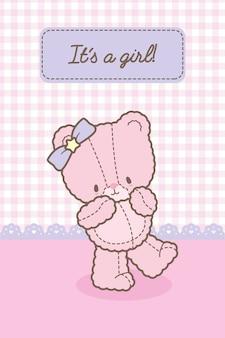 É uma menina modelo de cartão de urso rosa