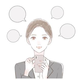 É uma mulher de terno que posta boca a boca com um smartphone.