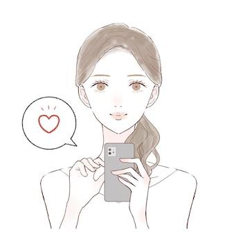 É uma mulher que gosta com um smartphone.
