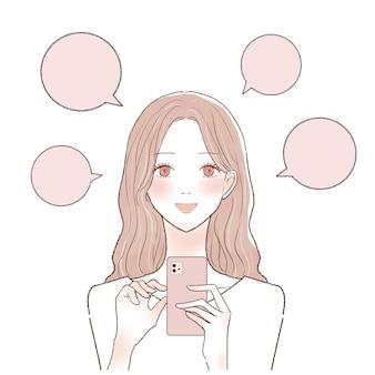 É uma mulher que posta boca a boca em um smartphone.