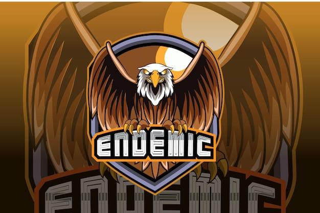 Eagle e sport e design do logotipo do mascote do esporte em um conceito de ilustração moderna