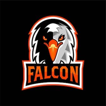 Eagle falcon head face logotipo esport esquadrão time de jogos vetor