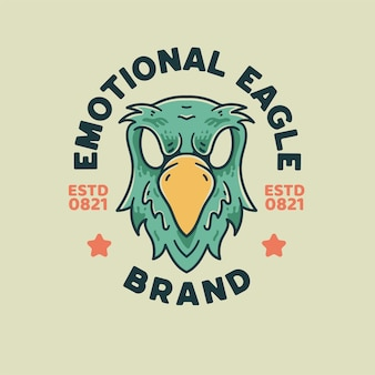 Eagle illustration estilo retro para camiseta