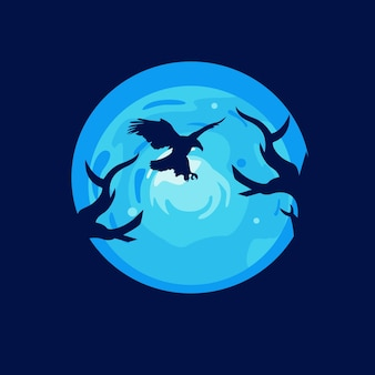 Eagle illustration logo design templates