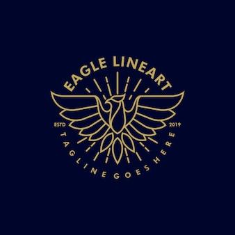 Eagle line art modelo de vetor de ilustração vintage