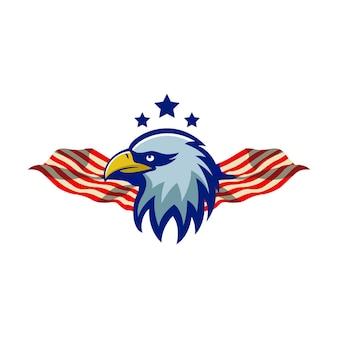 Eagle mascote logo illustration sport premium quality star background flag