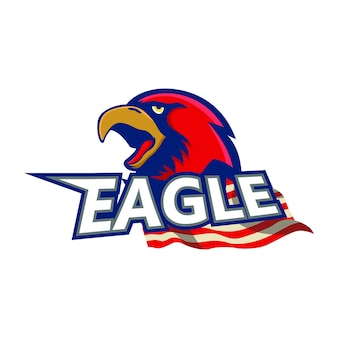 Eagle red mascot logo sample element