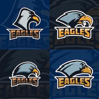 Eagles. conjunto de modelo de emblema com cabeça de águia. mascote do time de esporte. ilustração