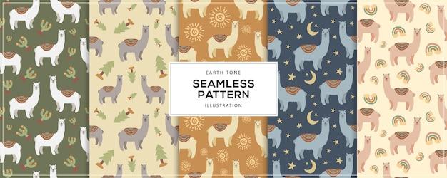 Earth tone llama alpaca seamless pattern