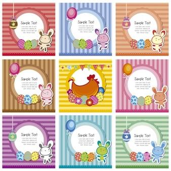 Easter coleção cartões listrados