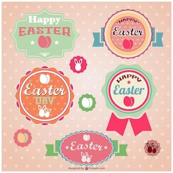 Easter retro stickers set