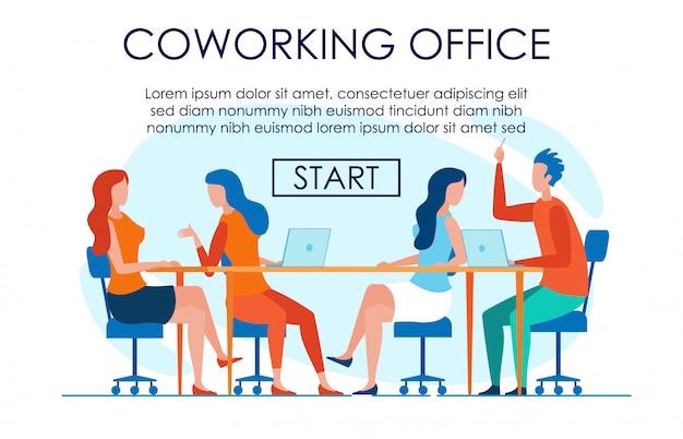 Easy going creative trabalhando no escritório de coworking