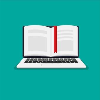 Ebook, laptop de aprendizagem on-line com vista frontal do livro aberto. ilustração em vetor em estilo moderno simples