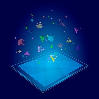 Ebook tablet pc realidade virtual imaginação imaginação efeito da mente. poligonal baixo poli