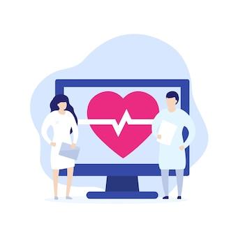 Ecg, eletrocardiograma, ilustração vetorial de diagnóstico cardiovascular com médicos