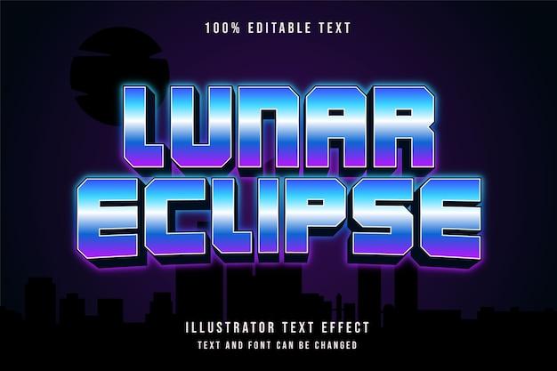 Eclipse lunar, efeito de texto editável em 3d com gradação azul e rosa neon estilo de texto
