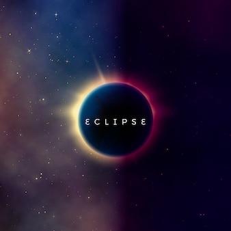 Eclipse solar. fundo abstrato do universo astral. raios de luz das estrelas explodiram atrás do planeta. efeito da astronomia - eclipse solar. ilustração