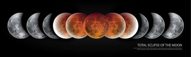 Eclipse total da ilustração vetorial de lua