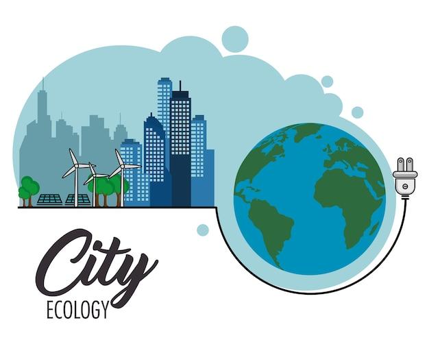 Eco amigável cidade com turbinas eólicas e painéis solares ao lado de luva e ficha eléctrica sobre branco bac